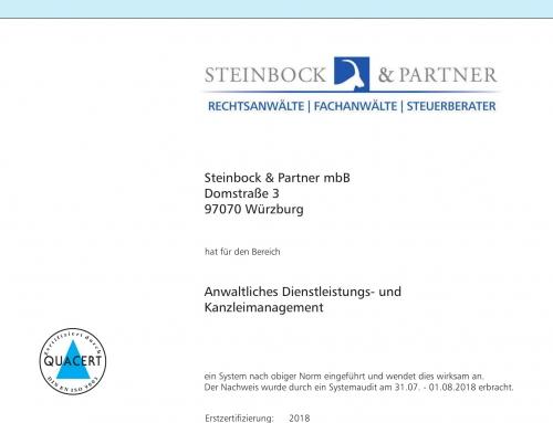 Unsere Kanzlei ist für anwaltliches Dienstleistungs- und Kanzleimanagement zertifiziert