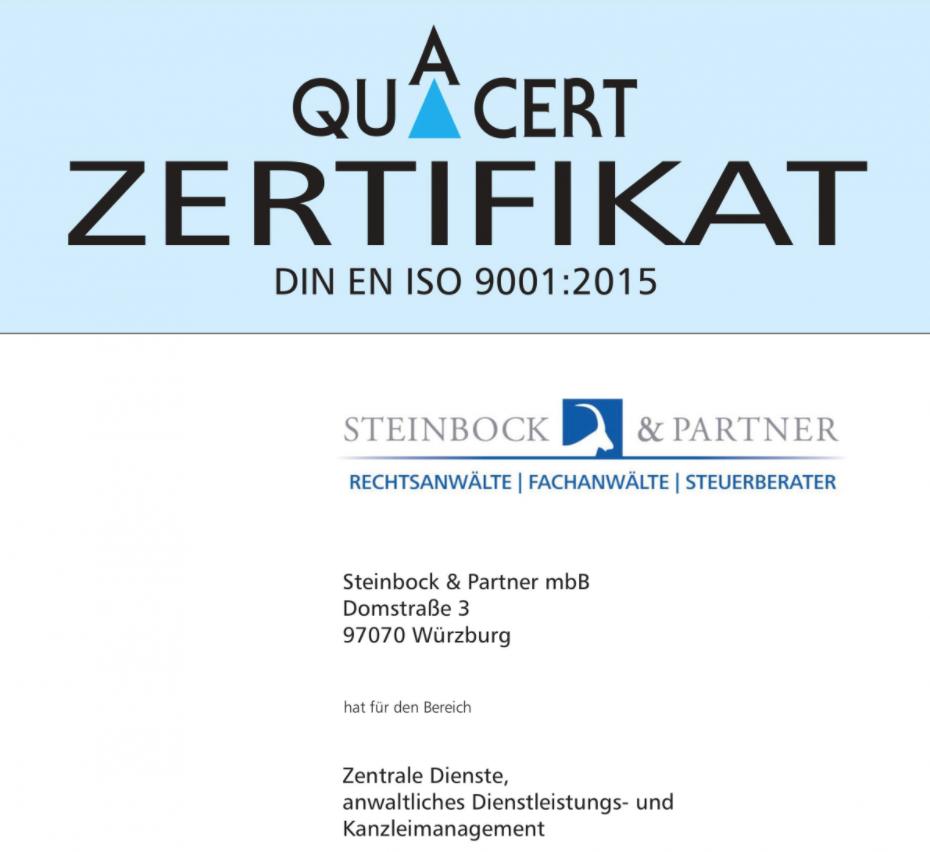 Steinbock & Partner Quacert Zertifikat