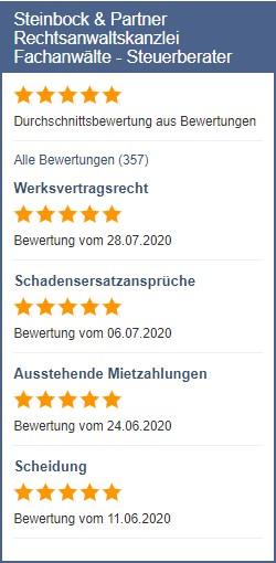 Anwalt.de Bewertungen zu Steinbock & Partner